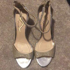 Gold homecoming heels